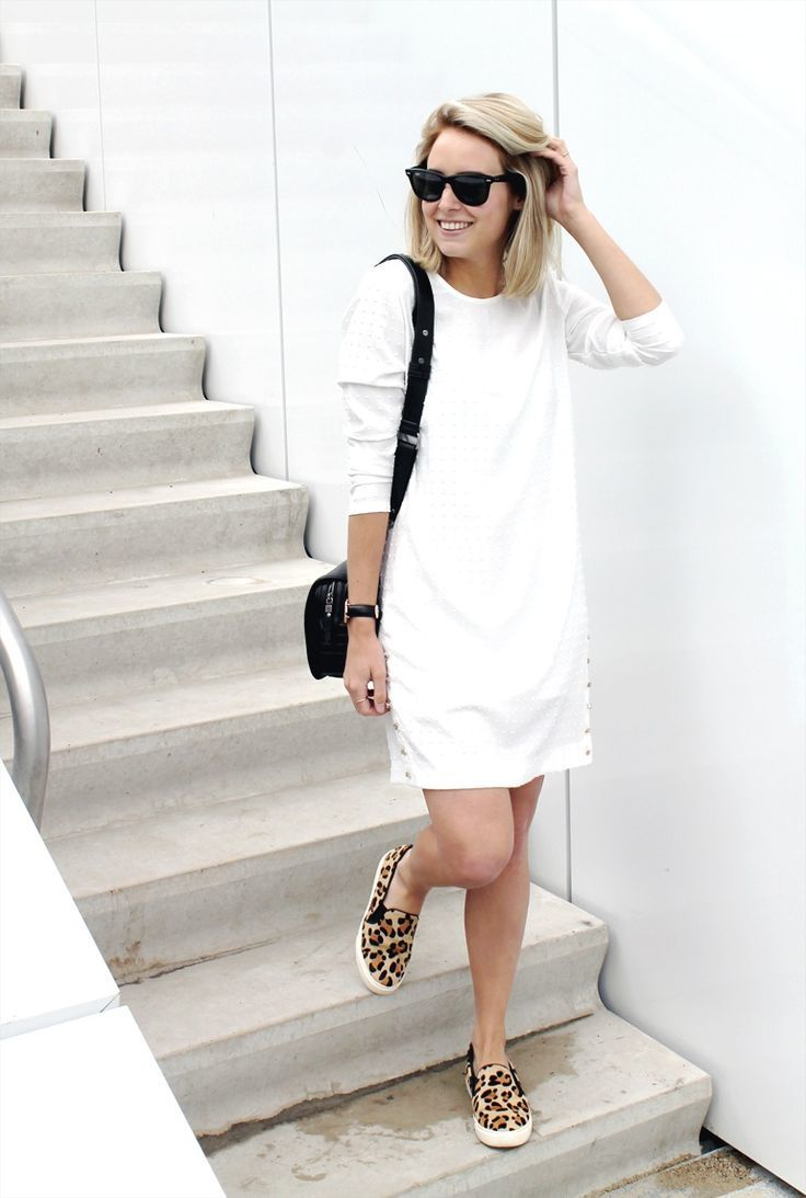 Leopard-slip-on-sneakers-with-white-dress